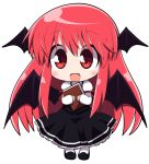 1girl blush book chibi demon_wings dress frilled_dress frills holding holding_book imp koakuma long_hair osaragi_mitama pink_hair red_eyes smile solo the_embodiment_of_scarlet_devil touhou very_long_hair wings