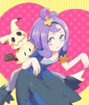 1girl :3 acerola_(pokemon) armlet ayatori_(sensei_heroism) bangs bare_arms bent_over blue_eyes closed_mouth collarbone costume dress elite_four eyelashes fingernails flat_chest flipped_hair hair_ornament heart leaning_forward looking_away looking_to_the_side mimikyu pikachu_costume pokemon pokemon_(creature) pokemon_(game) pokemon_sm polka_dot purple_hair short_hair short_sleeves smile standing stitches striped striped_background topknot torn_clothes torn_dress torn_sleeves trial_captain z-move