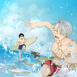 2boys ^_^ beach black_hair blue_sky brown_eyes closed_eyes dog dutch_angle glasses jewelry katsuki_yuuri makkachin male_focus male_swimwear multiple_boys ring running silver_hair sky summer surfboard swim_trunks swimwear viktor_nikiforov water you_(gay322k) yuri!!!_on_ice