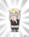 1girl :3 :d absurdres arms_up artist_name backless_outfit black_ribbon black_skirt blonde_hair blush chibi daimoto_kokoro dress emphasis_lines full_body hair_flaps hair_ribbon halterneck highres kantai_collection neckerchief open_mouth pleated_skirt red_neckerchief ribbed_sweater ribbon scarf school_uniform serafuku signature skirt smile solo standing sweater sweater_dress turtleneck turtleneck_sweater twitter_username virgin_killer_sweater wardrobe_error white_scarf you're_doing_it_wrong yuudachi_(kantai_collection)
