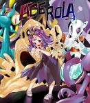 1girl :3 :d acerola_(pokemon) anchor armlet bangs bare_arms blush character_name costume dhelmise dress drifblim elite_four flat_chest flipped_hair froslass full_body gem hair_ornament highres ice leaning_forward looking_away looking_to_the_side mimikyu open_mouth palossand pigeon-toed pikachu_costume pokemon pokemon_(creature) pokemon_(game) pokemon_sm purple_dress purple_hair sableye sand sand_castle sand_sculpture sandals seaweed shigurio ship's_wheel short_hair short_sleeves shovel smile standing stitches tareme text tongue topknot torn_clothes torn_dress torn_sleeves trial_captain violet_eyes worktool