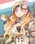 1girl beans beret blonde_hair blue_eyes blue_hair box commandant_teste_(kantai_collection) french_flag hat itomugi-kun kantai_collection long_hair machinery mask mask_on_head masu multicolored_hair plaid plaid_scarf pom_pom_(clothes) redhead scarf seaplane_tender_water_hime setsubun shinkaisei-kan solo streaked_hair white_hair