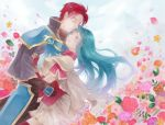 1boy 1girl aqua_hair armor blue_armor blue_eyes blush boots breastplate cape castle closed_eyes clouds couple eirika fire_emblem fire_emblem:_seima_no_kouseki flower happy hetero highres hug knight long_hair mitarasi-1517 one_eye_closed red_boots red_eyes redhead seth_(fire_emblem) short_hair sidelocks skirt sky thigh-highs thigh_boots very_long_hair white_skirt yellow_cape zettai_ryouiki