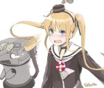 >:d 1girl :d amatsukaze_(kantai_collection) amatsukaze_(kantai_collection)_(cosplay) artist_request blonde_hair blue_eyes blush commentary_request cosplay fang hat kantai_collection lifebuoy long_hair mini_hat open_mouth rensouhou-kun retorillo saenai_heroine_no_sodatekata sailor_collar sawamura_spencer_eriri simple_background smile twintails upper_body white_background