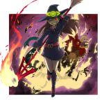 1girl ;d akko_kagari boots broom brown_hair burning cockatrice death fire full_body glowing glowing_eye grin hat knee_boots little_witch_academia long_hair momojiri_tarou one_eye_closed open_mouth polearm red_eyes smile spear straight_hair weapon witch witch_hat