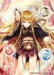 1girl akkijin blonde_hair goddess horns japanese_clothes obi orb pleated_skirt red_eyes sash shinkai_no_valkyrie skirt solo weapon