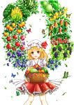 1girl :d apple ascot banana bangs basket blonde_hair blueberry blush butterfly cowboy_shot crystal dtvisu eggplant flandre_scarlet food frilled_shirt_collar frilled_skirt frills fruit grapes hat hat_ribbon highres holding_basket leaf lemon looking_at_viewer mango melon mob_cap open_mouth orange plant_wings puffy_short_sleeves puffy_sleeves red_eyes red_ribbon red_skirt ribbon short_sleeves side_ponytail skirt smile solo strawberry touhou watermelon white_background wings