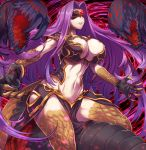 1girl abs bangs blindfold breasts bustier claws cleavage cleavage_cutout commentary_request covered_eyes dark_persona domino_mask fate/grand_order fate_(series) gorgon_(fate) large_breasts long_hair mask navel parted_bangs pelvic_curtain purple_hair rider scales sidelocks solo teeth tomoyohi