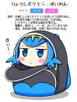 1girl :< backpack bag bangs blue_eyes blue_hair blush_stickers chagama_(tyagama0927) chibi hairband highres in_bag in_container looking_at_viewer open_bag pokemon pokemon_(game) pokemon_sm shadow short_hair simple_background solo suiren_(pokemon) translation_request trial_captain white_background