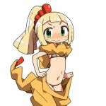 1girl animal_costume bikini blonde_hair blush closed_mouth cosplay embarrassed green_eyes kanikama lillie_(pokemon) looking_at_viewer lowres navel pokemon pokemon_(game) pokemon_sm ponytail scrafty scrafty_(cosplay) simple_background solo swimsuit wavy_mouth white_background
