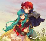 1boy 1girl aqua_hair armor blue_eyes cape clouds couple eirika fire_emblem fire_emblem:_seima_no_kouseki flower hand_on_another's_arm hetero hug hug_from_behind knight lips long_hair red_eyes redhead saikachi_(ogre_tree) seth_(fire_emblem) short_hair sidelocks skirt sky very_long_hair white_skirt yellow_cape