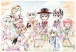 absurdres androgynous bare_shoulders barefoot big_hat black_hair blonde_hair bow brilliant_pagoda_or_haze_castle brown_coat chikafumikou coat detached_sleeves eggplant enraku_tsubakura frilled_hat frills fujiwara_no_iyozane goggles green_eyes green_hair grey_eyes grey_eyes grey_hair hair_ornament hairband hakama_skirt hat headband highres hood hooded_jacket hoodie houren_yabusame jacket japanese_clothes len'en long_hair necktie open_mouth pink_hair red_eyes red_ribbon redhead ribbon shion_(len'en) shitodo_aoji shitodo_hooaka shitodo_kuroji short_hair short_hair_with_long_locks short_sleeves shorts shouryouuma siblings silver_hair smile star taira_no_fumikado top_hat triangular_headpiece umatachi_tsugumi very_long_hair vest violet_eyes wings