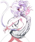 1girl :d animal_ears arched_back armpits ass backless_outfit bangs bare_arms bare_back bare_shoulders breasts butt_crack cat_ears cat_tail cowboy_shot dress fang fingernails from_side heart hunter_x_hunter looking_at_viewer looking_to_the_side neferpitou open-back_dress open_mouth red_eyes ribbed_sweater sharp_fingernails slit_pupils small_breasts smile solo sweater sweater_dress tail turtleneck turtleneck_sweater virgin_killer_sweater watarui white_hair