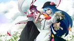 2girls black_hat black_skirt blouse blue_hair bow capelet clouds cloudy_sky commentary_request cravat flower food frills fruit grass hand_on_headwear hat hat_bow highres hinanawi_tenshi hiragana_(gomasyabu) holding holding_sword holding_weapon keystone long_hair long_sleeves looking_away multiple_girls nagae_iku neck_ribbon one_eye_closed orange_eyes peach puffy_long_sleeves puffy_short_sleeves puffy_sleeves purple_hair red_bow red_eyes red_ribbon ribbon rock rope shawl shide shimenawa short_hair short_sleeves skirt sky smile sword sword_of_hisou touhou weapon white_blouse