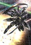 dual_wielding energy_beam explosion gundam gundam_00 highres katana looking_at_viewer mecha no_humans platin_(alios) solo spiked_knuckles susanoo_(gundam) sword weapon