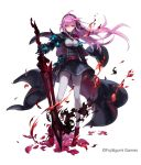 armor belt breasts cape company_name dark_persona fire flower gauntlets glowing hair_ribbon leggings long_hair official_art phantom_of_the_kill pink_eyes pink_hair red_flower ribbon shoes shoulder_spikes side_b spikes tyrfing_(phantom_of_the_kill) waist_cape