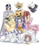 2boys 3girls animal_ears arm_support armpits arms_up bed_sheet black_gloves blonde_hair blue_hair breasts cat_ears cat_tail charle_(fairy_tail) cleavage closed_eyes detached_sleeves dress elbow_gloves erza_scarlet fairy_tail flying gloves gray_fullbuster green_shirt hair_ribbon halloween halloween_costume happy_(fairy_tail) large_breasts long_hair looking_at_viewer lucy_heartfilia mashima_hiro multiple_boys multiple_girls natsu_dragneel official_art open_mouth pantyhose pink_hair pink_legwear pink_ribbon ponytail pumpkin redhead ribbon scarf shirt simple_background sitting sleeveless sleeveless_dress small_breasts spiky_hair strapless striped striped_legwear tail thigh-highs twintails wendy_marvell white_background wrist_cuffs yellow_dress zettai_ryouiki