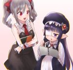 2girls book bowcan eyepatch gothic gothic_lolita granblue_fantasy green_hair hat holding holding_book idolmaster idolmaster_cinderella_girls kanzaki_ranko lolita_fashion long_hair lunaru_(granblue_fantasy) multiple_girls open_mouth purple_hair red_eyes sketchbook smile twintails violet_eyes