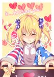 1girl alternate_hairstyle american_flag_jacket blonde_hair blush box closed_eyes clownpiece commentary_request gift gift_box heart incoming_gift jacket koissa long_sleeves ribbed_sweater solo star star_print striped sweater tears touhou twintails valentine white_sweater