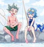 1boy 1girl ^_^ ^o^ bare_shoulders black_hair blue_hair butterfly_net closed_eyes clouds day fishing_rod full_body goggles goggles_on_head gon_freecss hand_net happy holding holding_fishing_rod hunter_x_hunter male_swimwear one-piece_swimsuit open_mouth pokemon pokemon_(game) pokemon_sm popplio short_hair sitting sky smile spiky_hair suiren_(pokemon) swim_trunks swimsuit swimwear topless trial_captain water yellow_eyes
