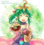 1girl bare_shoulders chiki child closed_eyes doughnut fire_emblem fire_emblem:_monshou_no_nazo food green_hair looking_at_viewer nunuko_(mu661129) smile