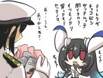 1boy 1girl admiral_(kantai_collection) anchorage_water_oni bag black_hair blue_hair blush_stickers chibi chocolate comic commentary_request dress eating epaulettes gloves gomasamune hat highres horns kantai_collection military military_hat military_uniform multicolored_hair open_mouth peaked_cap red_eyes sleeveless sleeveless_dress translation_request uniform valentine white_background white_dress