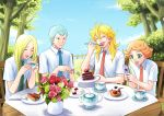 <o>_<o> blonde_hair blue_hair blue_sky blueberry cake cellphone closed_eyes clouds cup eating fence flower food food_on_face fork fruit gabriel_(saint_onii-san) green_hair kuromaro long_hair michael_(saint_onii-san) necktie open_mouth phone polka_dot raphael_(saint_onii-san) raspberry saint_onii-san sky smile spoon strawberry striped table teacup teapot tree uriel_(saint_onii-san) vase