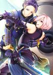 1boy 1girl annojou_haruto armor armored_dress arondight bare_shoulders commentary_request elbow_gloves fate/grand_order fate_(series) father_and_daughter gauntlets gloves hair_over_one_eye highres holding holding_sword holding_weapon lancelot_(fate/grand_order) open_mouth purple_gloves purple_hair purple_legwear shielder_(fate/grand_order) short_hair smile sword violet_eyes weapon