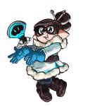 1girl bangs belt black-framed_eyewear blue_gloves boots brown_eyes brown_hair coat commentary cosplay costume domino_mask funkgamut fur_trim glasses gloves hair_bun hair_ornament hair_stick holding holding_weapon inkling mask mei_(overwatch) mei_(overwatch)_(cosplay) overwatch pointy_ears simple_background smile solo splatoon tentacle_hair weapon white_background