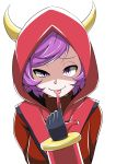 1girl :p bangs crazy_eyes fake_horns finger_to_tongue gloves half-closed_eyes highres hood horned_headwear horns kagari_(pokemon) kagari_(pokemon)_(remake) looking_at_viewer pokemon pokemon_(game) pokemon_oras purple_hair ribbed_sweater short_hair simple_background smile solo sweater swept_bangs team_magma tongue tongue_out turtleneck turtleneck_sweater upper_body vambraces violet_eyes white_background