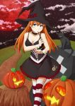 1girl bare_shoulders black_cat black_dress blue_eyes breasts cat choker cleavage clouds coffin dress halloween jack-o'-lantern moon murata_isshin neon_genesis_evangelion night orange_hair red_moon solo souryuu_asuka_langley striped striped_legwear thigh-highs wand witch wrist_cuffs zettai_ryouiki
