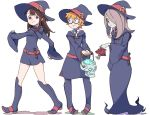 3girls akko_kagari belt blue_eyes boots brown_hair dress freckles full_body glasses hair_over_one_eye hat little_witch_academia long_dress long_hair looking_at_another looking_back looking_down lotte_yanson multiple_girls needle_(pixiv20529936) orange_hair red_eyes school_uniform short_dress short_hair sucy_manbavaran walking wide_sleeves witch witch_hat