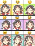>_< 1girl :d ? black_hair blush closed_eyes expressions flying_sweatdrops frown heart horns imokichi kijin_seija multicolored_hair musical_note one_eye_closed open_mouth red_eyes redhead smile smiley_face streaked_hair surprised sweatdrop tears teeth tongue tongue_out touhou white_hair xd