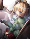 1girl ahoge artist_name bangs blonde_hair blue_eyes boots chair chess_piece dutch_angle from_behind highres holding knee_boots legs_together long_sleeves looking_at_viewer looking_back military military_uniform nutcracker open_mouth pawn reflection saraki signature sitting smile solo tanya_degurechaff teeth uniform youjo_senki