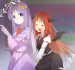 2girls :d ^_^ abe_suke bat_wings blurry blush book capelet closed_eyes collared_shirt commentary_request cowboy_shot crescent crescent_hair_ornament depth_of_field dress frills hair_ornament hands_together happy head_wings holding holding_book juliet_sleeves koakuma library light_smile long_hair long_sleeves looking_at_viewer multiple_girls necktie no_hat no_headwear open_mouth patchouli_knowledge puffy_sleeves purple_dress purple_hair red_necktie redhead shirt sidelocks skirt skirt_set smile striped striped_dress touhou vertical_stripes very_long_hair vest violet_eyes voile white_shirt wings