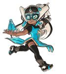 1girl black_hair black_legwear black_shoes blue_dress blue_nails cardboard commentary cosplay costume dark_skin domino_mask dress earrings forehead_jewel funkgamut headgear holding holding_weapon inkling jewelry long_hair mask mechanical_arm nail_polish overwatch pointy_ears running shoes simple_background solo splat_bomb_(splatoon) splatoon symmetra_(overwatch) symmetra_(overwatch)_(cosplay) tentacle_hair thigh-highs visor weapon white_background yellow_eyes