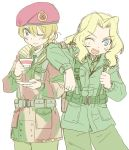 alternate_costume beret blue_eyes camouflage cup darjeeling girls_und_panzer hat kay_(girls_und_panzer) military military_uniform one_eye_closed saucer sketch smile teacup thumbs_up uniform uona_telepin white_background world_war_ii