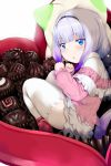 1girl bangs beads black_hairband blue_eyes blunt_bangs blush candy capelet chocolate commentary dress eyebrows_visible_through_hair food gradient_hair hair_beads hair_ornament hairband hews_hack highres kanna_kamui kobayashi-san_chi_no_maidragon long_hair long_sleeves looking_at_viewer lying multicolored_hair on_side pillow red_shoes shoes short_dress silver_hair simple_background solo thick_thighs thigh-highs thighs tied_hair twintails valentine white_background white_legwear zettai_ryouiki