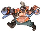 1boy blue_pants brown_gloves commentary cosplay costume domino_mask funkgamut gas_mask gloves grey_hair gun holding holding_weapon inkling jewelry mask overwatch pants pillow pointy_ears red_eyes ring roadhog_(overwatch) roadhog_(overwatch)_(cosplay) simple_background skull_print solo splatoon tattoo tentacle_hair weapon white_background