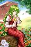 1girl aka_tawashi ascot belt blouse brick flower green_eyes green_hair hair_between_eyes highres holding holding_umbrella kazami_yuuka kazami_yuuka_(pc-98) long_hair long_sleeves looking_at_viewer outdoors pants plaid plaid_pants plaid_vest puffy_long_sleeves puffy_sleeves sitting smile touhou touhou_(pc-98) umbrella unbuttoned vest wavy_hair white_blouse