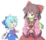 >:d 2girls :d ascot blue_bow blue_dress blue_eyes blue_hair blush bow brown_eyes brown_hair cirno dress hair_between_eyes hair_bow hair_tubes hakurei_reimu looking_at_another looking_up moyazou_(kitaguni_moyashi_seizoujo) multiple_girls open_mouth pink_coat puffy_short_sleeves puffy_sleeves red_ascot red_bow red_skirt scarf short_hair short_sleeves sidelocks skirt smile snowman touhou uneven_eyes upper_body white_background wide_sleeves yellow_ascot yellow_scarf