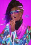 1girl absurdres asymmetrical_hair dark_skin earrings eyeliner eyeshadow fashion finger_to_mouth glasses highres jewelry jpeg_artifacts lipstick long_hair looking_at_viewer makeup mole mole_under_eye monori_rogue multicolored multicolored_clothes multicolored_hair nail_polish nose over-rim_glasses overwatch pink_background purple_hair purple_lipstick purple_nails semi-rimless_glasses shawl shushing solo sombra_(overwatch) stud_earrings sunglasses turtleneck two-tone_hair upper_body violet_eyes