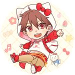 1boy :d alternate_costume animal_hood beamed_quavers candy cat_hood chains chibi ensemble_stars! food fruit gold_chain hair_between_eyes hello_kitty hood hoodie jacket lowres male_focus midriff_peek morisawa_chiaki musical_note nayuta_(charinkoo) open_clothes open_jacket open_mouth outstretched_arm red_eyes sash smile strawberry