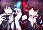 2boys black_gloves blue_eyes butterfly_wings ensemble_stars! food fruit gloves hand_behind_head headset letterboxed looking_at_another magnet_(vocaloid) male_focus mikku morisawa_chiaki multiple_boys necktie parted_lips red_eyes sena_izumi_(ensemble_stars!) song_name split_screen strawberry takamine_midori upper_body white_gloves wings