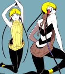 1girl armpits arms_up ass back bangs bare_shoulders blonde_hair blue_background blue_eyes breasts closed_mouth earphones from_behind gym_leader kamitsure_(pokemon) kneeling leggings legs looking_at_viewer looking_back meme_attire monochrome muu1519 plug pokemon pokemon_(game) pokemon_bw short_hair simple_background sleeveless sweater turtleneck turtleneck_sweater virgin_killer_sweater