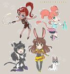 4girls animal_ears black_hair blake_belladonna brown_hair cat_tail chibi commentary fang iesupa ilia_amitola inline_skates multiple_girls neon_katt nunchaku orange_hair rabbit_ears redhead roller_skates rwby shorts skates tail velvet_scarlatina weapon welsh_corgi whip yawning zwei_(rwby)