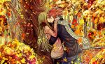 1boy 1girl black_legwear blonde_hair closed_eyes fairy_tail forest hug kiss leonstar long_hair lucy_heartfilia natsu_dragneel nature outdoors red_scarf redhead scarf spiky_hair tattoo tree white_scarf