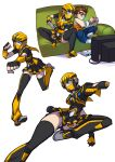 1boy 1girl :q black_legwear black_panties black_skirt blue_eyes breasts bumblebee character_request choker clenched_hands collage controller couch face_mask flying_kick full_body game_console game_controller gamepad genderswap genderswap_(mtf) highres kicking mask panties pantyshot personification playing_games pleated_skirt punching red-framed_eyewear ringed_eyes ryuusei_(mark_ii) skirt small_breasts thigh-highs tongue tongue_out transformers underwear white_background zettai_ryouiki