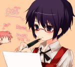 2girls black_hair glasses hidamari_sketch hiro lowres maruino multiple_girls paper pen sae short_hair writing