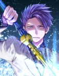 1boy alternate_costume business_suit commentary_request cowboy_shot fate/grand_order fate_(series) formal highres holding holding_sword holding_weapon lancelot_(fate/grand_order) long_sleeves looking_at_viewer necktie nima_(dori-ss) purple_hair suit sword upper_body violet_eyes weapon